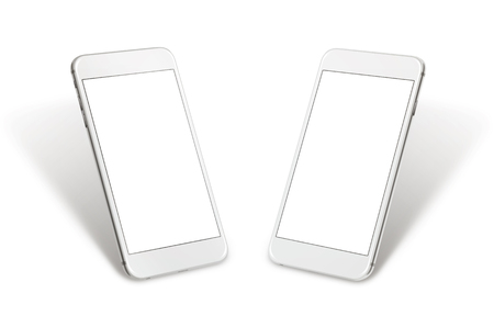 Isolated white smart phone. Two sided isometric view. Isolated screen for mockup.