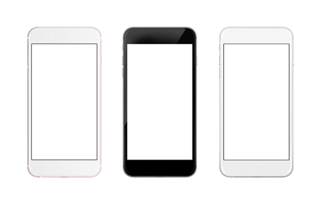 Isolated smart phone. Front side isolated screen for mockup. Three colors.