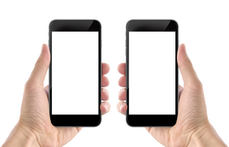 Smart phone in man hand. Isolated screen for mockup. Left and right hand, front side. Фото со стока