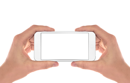 horizontal position: Smart phone in man hands. Horizontal position. Isolated screen for mockup