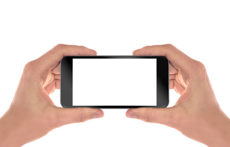 and the horizontal man: Smart phone in man hands. Horizontal position. Isolated screen for mockup