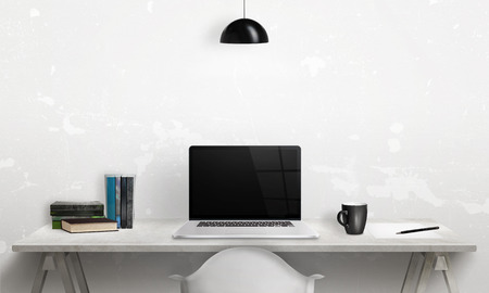 clean office: Writing book on a laptop. Clean scene of the desk in office or room. Blank screen for mockup.
