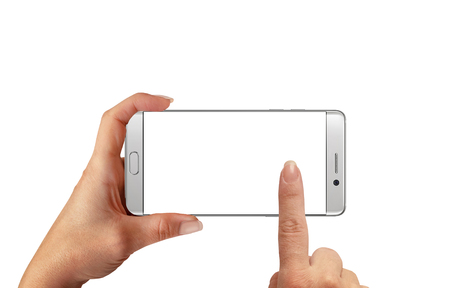 horizontal position: Woman touch isolated white smartphone display for mockup. Horizontal position of white modern edge cell phone with isolated background. Stock Photo