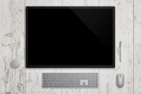 Designer surface display studio in horizontal position. Blank touch screen for design mockup presentation. Pen, keyboard, mouse and dial beside. Top view. White wooden background.