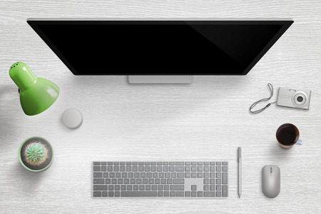 Modern home desk workplace. Computer display with keyboard, mouse, pen, dial, lamp, plant, cup of coffee and digital camera. Free space for hero header image text. Banco de Imagens