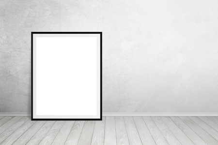 leaned: Poster frame leaned on wall with free space for text. Empty space for art product mockup presentation. Stock Photo