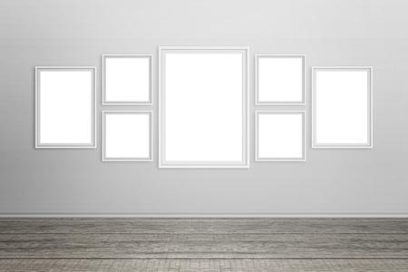 Lege witte frames op de muur. Geïsoleerd voor mockup.