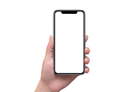 Telefone esperto moderno com a tela curvada x na mão da mulher isolada. Tela em branco para maquete. Foto de archivo - 89685294