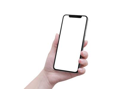 ブランクの x 湾曲した画面を持つ現代のスマートフォンで孤立した女性の手。 写真素材