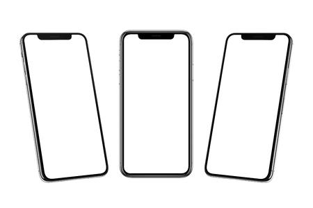 Meerdere smartphones met x gebogen scherm vooraan, links en rechts.