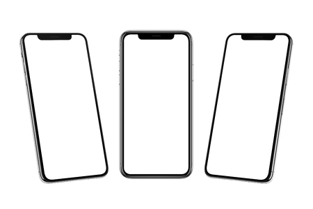 Multiple smart phones with x curved screen in front, left and right side position. Фото со стока