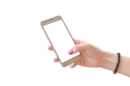 Isolated white mobile phone in woman hand. blank screen for app presentation. 版權商用圖片