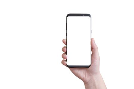 여자 손에 가장자리가 격리 된 현대 스마트 전화. 스톡 콘텐츠