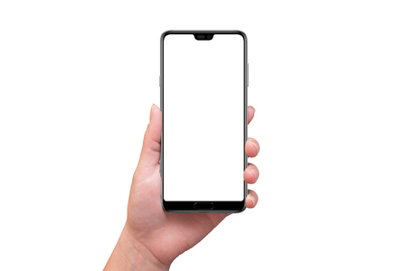 Isolated modern smart phone with tooth on screen in woman hand.