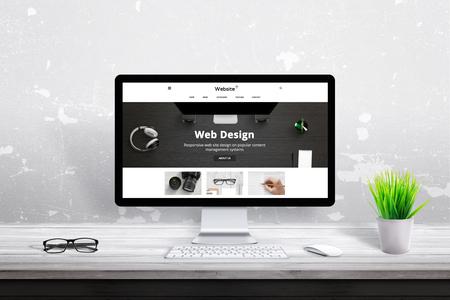 Flat web design theme presentation on computer display.