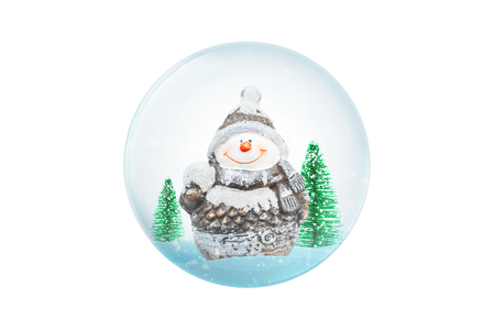 Isolated New Year, Christmas glass magic ball. Cute snowman and small christmas trees.