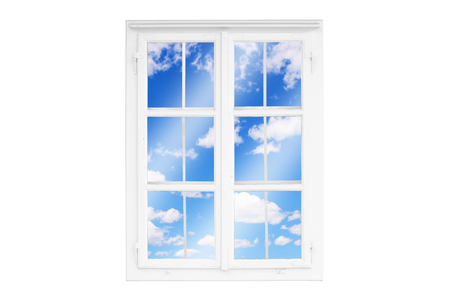 View through the window to white clouds, sky. Concept of relaxation, good mood. Isolated frame.