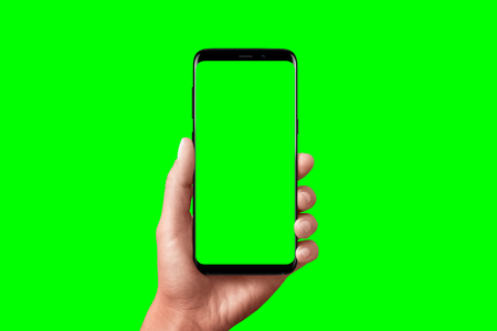 Modern phone in hand isolated. Chroma key for video mockup presentation. 스톡 콘텐츠 - 119207457