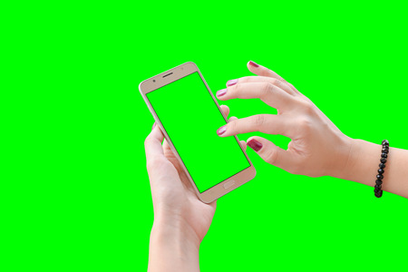 Hand touch smart phone screen. Green chroma key isolated. Woman hands.