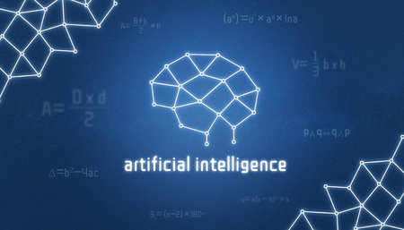 Artificial inteligence concept. Brain like a thread, a merger of knowledge and mathematical formulas.