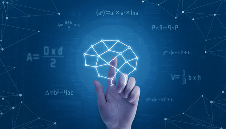 Hand touch network brain concept, surrounded with math formulas and network threads.