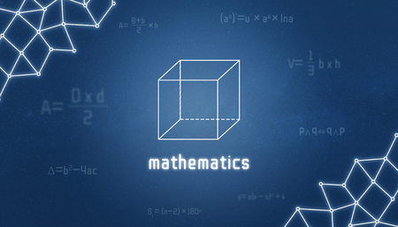 Mathematics concept. Geometry of the cube with mathematics text, surrounded by formulas.