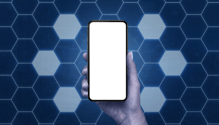 Phone mockup surrounded with hexagon shape network with free cells. Tehnology mobile network concept.