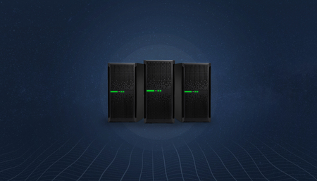 Web hosting servers concept on digital, abstract background with network threads at bottom.