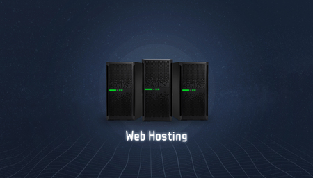 Web hosting concept with three servers and web hosting text below. Simple, flat, hero header image. Stock Photo