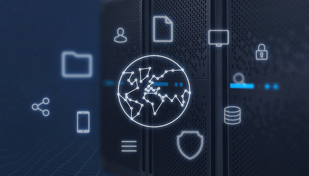 Concept of network globe surrounded with online services icons front of data servers. Stock Photo