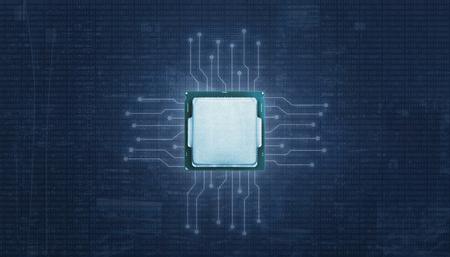 Processeur avec circuits microélectroniques d'éclairage. Code binaire en arrière-plan abstrait. Banque d'images