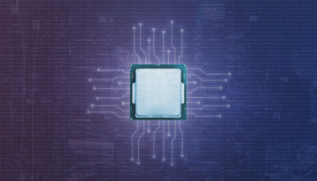 Graphic processor unit GPU and microelectronic circuits. Binary code on purple blue background. 免版税图像