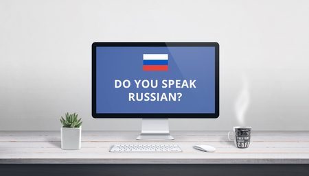 Do you speak Russian on computer display. Online lessons, study concept.