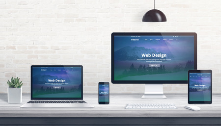 Modern flat design, responsive web site on multiple devices. Concept of web development studio work desk. Stok Fotoğraf