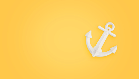 White boat anchor on yellow background with copy space beside. Concept of successful connection, attach.