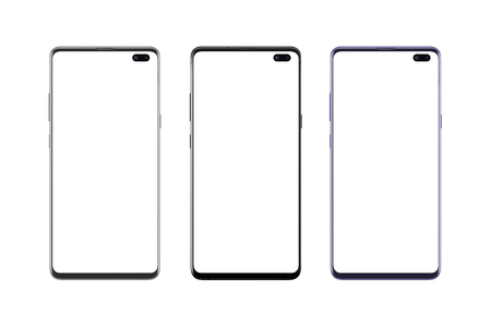 Isolated silver, black and purple color modern smart phones. Camera built into the display. Mockup. Stock Photo