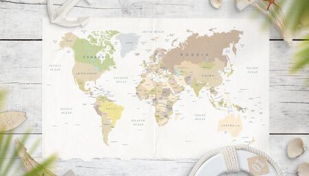 The map of the world is surrounded by symbols from the sea in the shade of palm trees. Top view, flat lay. World travel concept. Standard-Bild - 125961622