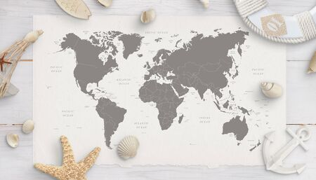 World map surrounded by shells, starfish, lifebelt, anchor. White wooden table in background. Flat lay, top view. Standard-Bild - 125961535