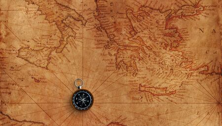 Old marine map of mediterranean sea with small compass. Banque d'images