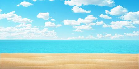 Empty beach sand, sea and clue sky with clouds. Copy space fot promo text or logo.