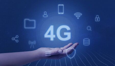 Hand represents 4G. Mobile network concept. Surrounded by icons representing mobile phone services. Imagens