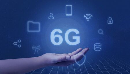 6G netork levitate in woman hand. Speed mobile network concept.