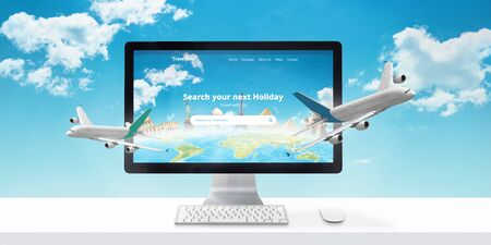 Holiday booking online. Concept of modern travel agency web site with famous world sights and airplanes that come out of the display. Stockfoto