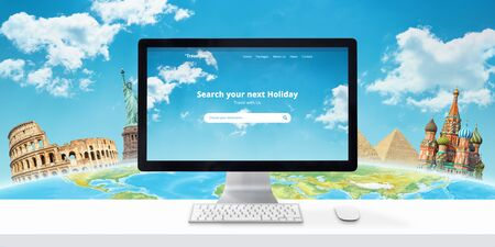 Travel destination online concept. Web site with search app and famous world sights behind the globe in the background.