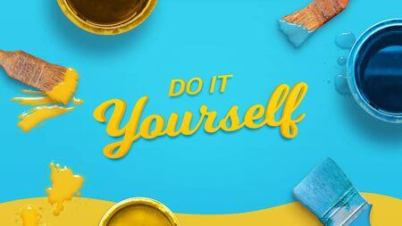 Faites-le vous-même composition avec des outils de peinture. Vue de dessus, mise à plat. Banque d'images
