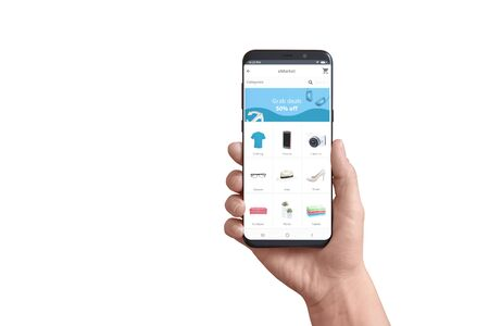 Isolated smart phone in hand with online store app. Concept of flat design app with grab deals ad and product categories.