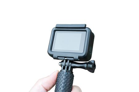Isolated action camera on stick. Close-up. Blank screen for mockup.