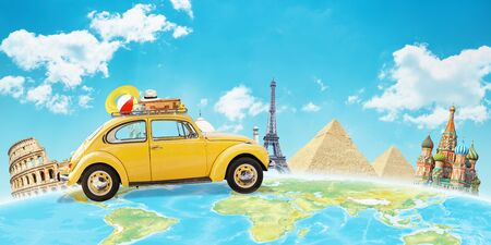 Yellow car travel across the world. Concept of travel and vacation around the world. World famous buildings in background.