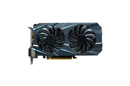 Computer graphics card isolated. Modern card with two cooling fans.