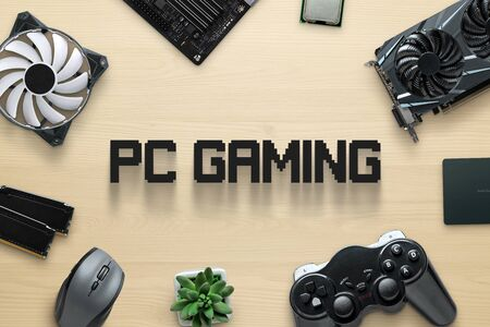 Computer gaming components and pc gaming text concept. Top view scene, flat lay.